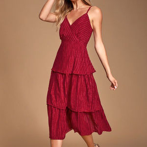 Lulu's Blaine Wine Red Striped Tiered Midi Dress